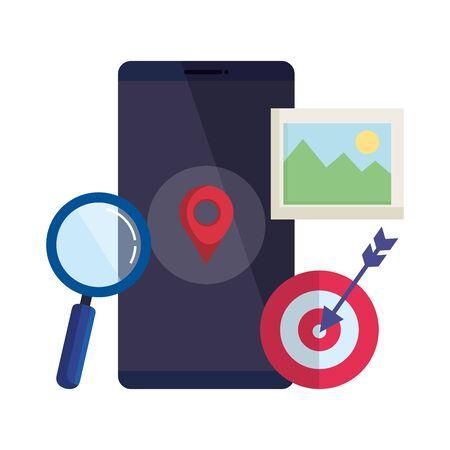 Ilustración de smartphone with magnifying glass and pin location vector illustration design - Imagen libre de derechos