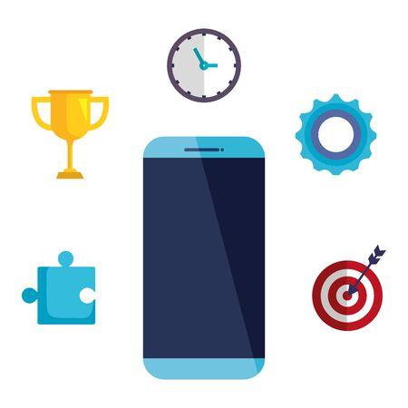Illustration pour smartphone technology with business icons vector illustration design - image libre de droit