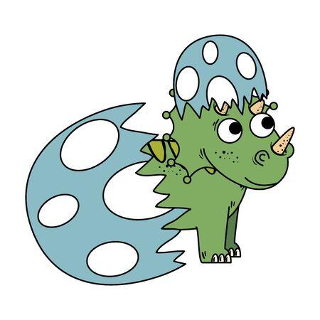Illustration pour newborn triceratops breaking the shell vector illustration design - image libre de droit
