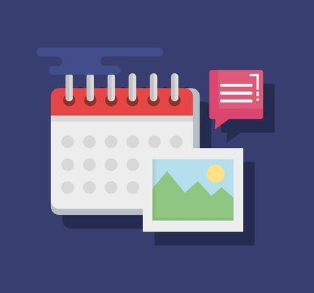 Illustration pour chat bubble news information with calendar and photo vector illustration - image libre de droit