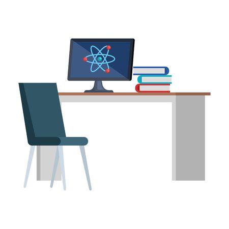 Illustration pour computer with atom molecule in desk and books vector illustration design - image libre de droit