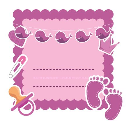 Ilustración de baby shower card with pacifier and crown vector illustration design - Imagen libre de derechos