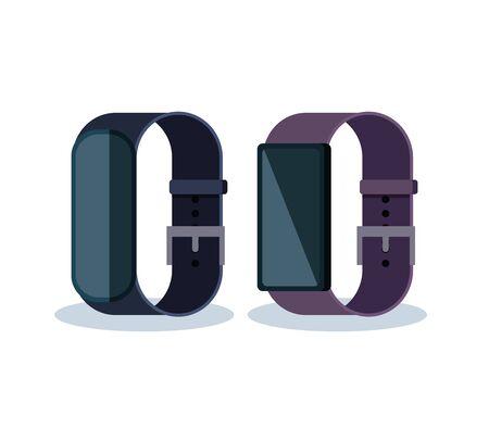 Illustration pour electronic smart watches with touch technology vector illustration - image libre de droit