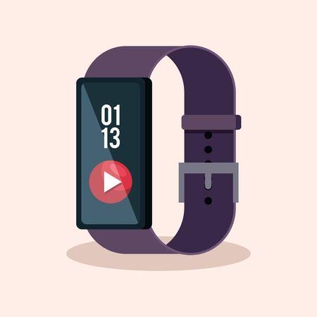 Illustration pour smartwatch technology with video digital app vector illustration - image libre de droit