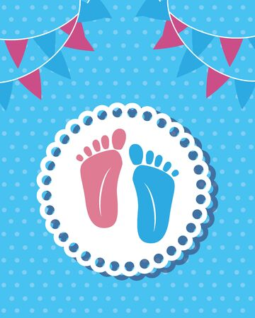 Ilustración de foot prints baby shower card vector illustration design - Imagen libre de derechos