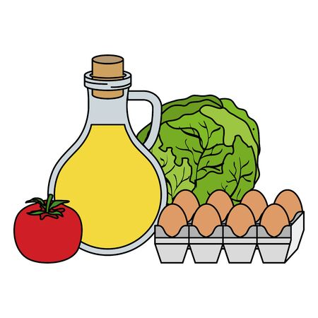 Illustration for oilve oil with eggs and vegetables healthy food icons vector illustration design - Royalty Free Image