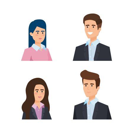 Illustration pour set professional businesswomen and businessmen executive vector illustration - image libre de droit