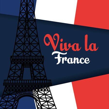 Illustration pour france flag with eiffel tower to happy bastille on july 14 vector illustration - image libre de droit