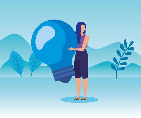 Illustration pour woman with bulb idea business strategy in the landscape mountains, vector illustration - image libre de droit