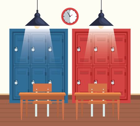 Illustration for clock with education lockers and desks in the classroom to back to school vector illustration - Royalty Free Image