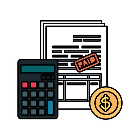 Illustration pour calculator math with taxes and coin vector illustration design - image libre de droit