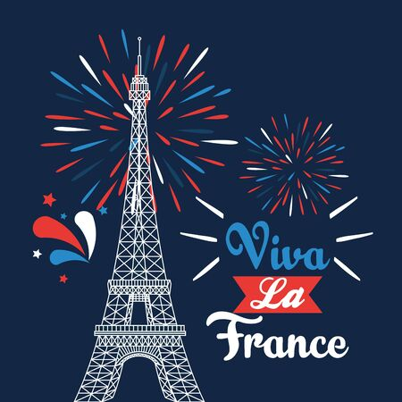 Illustration for eiffel tower with ribbon and fireworks deccoration to bastille celebration vector illustration - Royalty Free Image