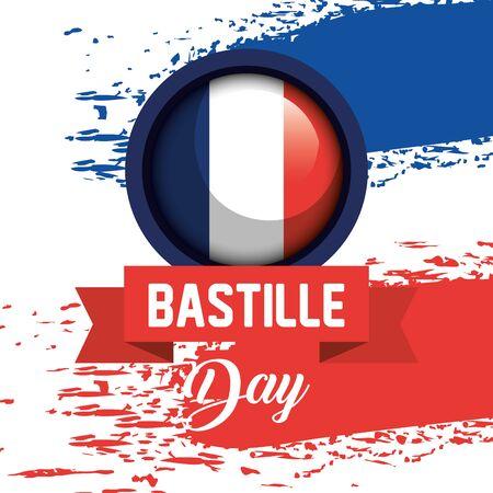 Illustration for france flag with ribbon to bastille celebration on july 14 vector illustration - Royalty Free Image