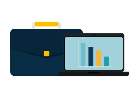Illustration pour laptop computer with bars statistics and portfolio vector illustration design - image libre de droit