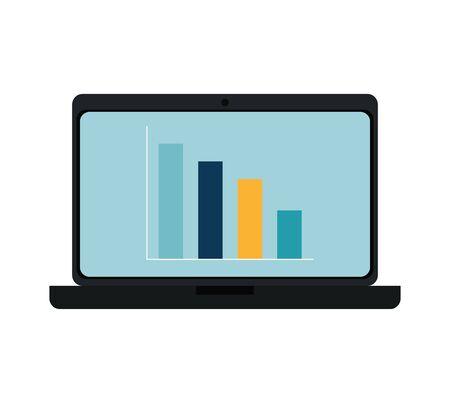 Illustration pour laptop computer with bars statistics vector illustration design - image libre de droit