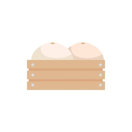 Illustration for melons in wooden box icon vector illustration design - Royalty Free Image