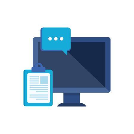 Illustration pour desktop computer with speech bubble vector illustration design - image libre de droit