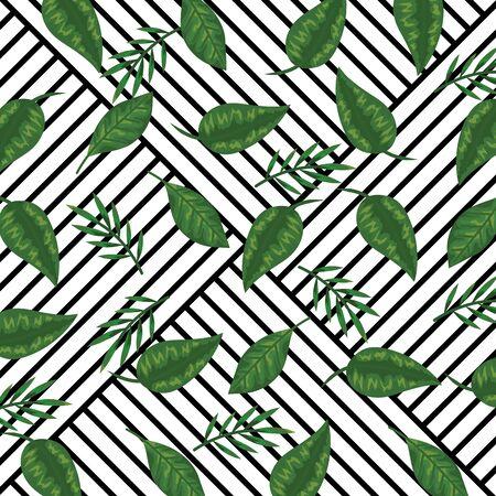 Ilustración de geometric abstract lines style and tropical background with leaves plants vector illustration - Imagen libre de derechos