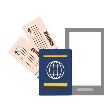 Ilustración de vacations smartphone passport air tickets vector illustration - Imagen libre de derechos