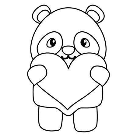 Illustration pour cute little bear panda with heart love vector illustration design - image libre de droit