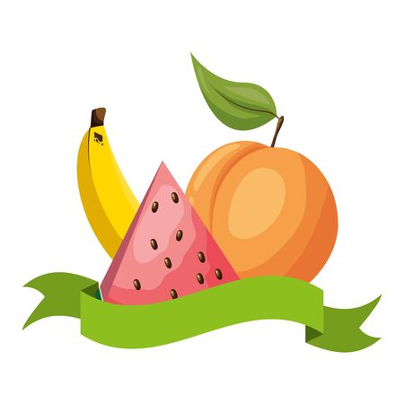 Illustration for watermelon peach banana tropical fruits banner sticker vector illustration - Royalty Free Image