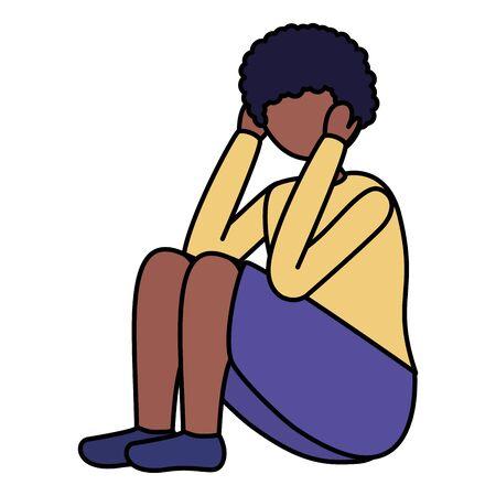 Illustrazione per boy sitting with sadness mental depressed vector illustration - Immagini Royalty Free