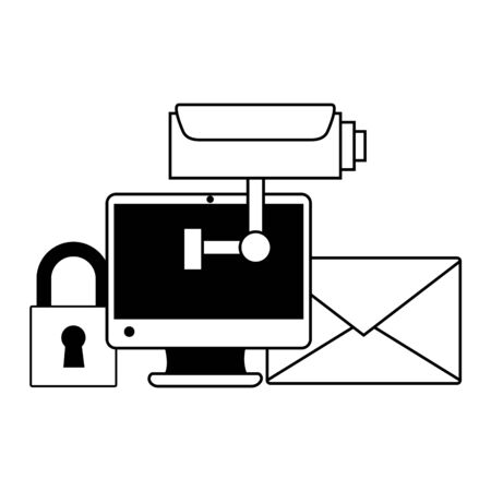 Illustration pour computer camera secure email wifi free connection vector illustration - image libre de droit
