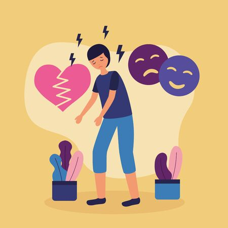 Illustration pour boy with mental disorder disappointed heart break vector illustration - image libre de droit