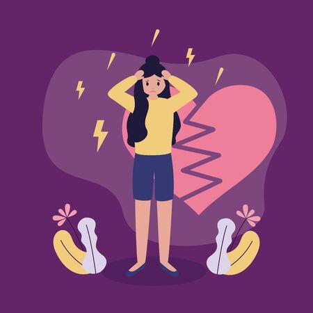 Illustration pour heart break girl with mental psychological depressed vector illustration - image libre de droit