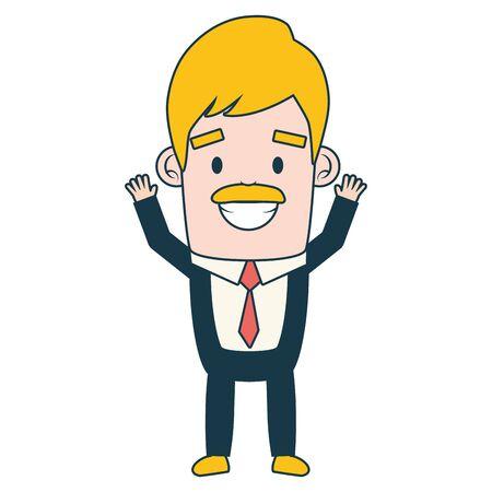 Illustration pour smiling businessman character on white background vector illustration - image libre de droit