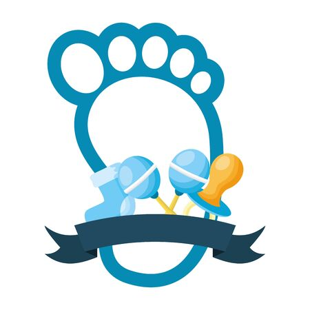 Ilustración de footprint pacifier rattle and sock boy decoration baby shower card vector illustration - Imagen libre de derechos