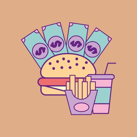 Illustration pour Fast food and hamburger design, restaurant menu dinner lunch cooking meal and tasty theme Vector illustration - image libre de droit