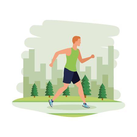 Ilustración de young athletic man running in the landscape vector illustration design - Imagen libre de derechos