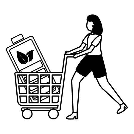 Illustration pour woman with battery in cart eco friendly environment vector illustration - image libre de droit