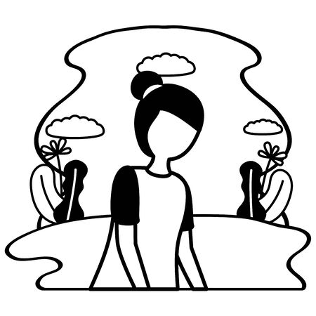 Illustration pour girl with mental psychological depressed vector illustration - image libre de droit