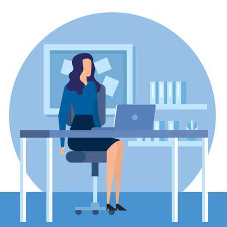 Illustration for elegant businesswoman worker in the office vector illustration design - Royalty Free Image