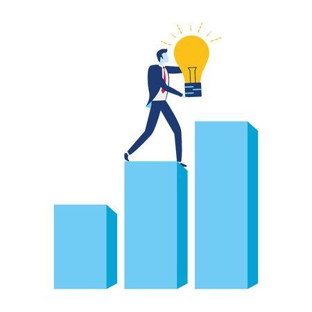 Ilustración de businessman bulb creativity chart financial business success vector illustration - Imagen libre de derechos