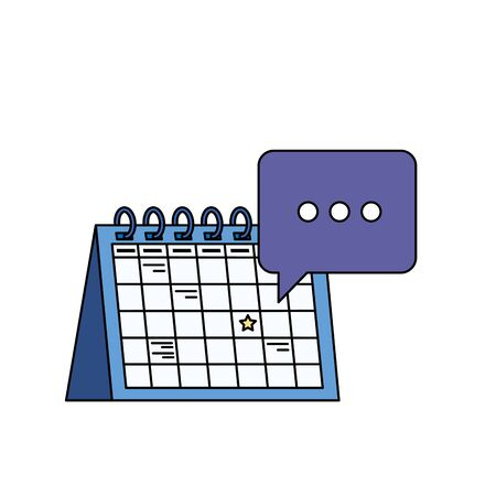 Ilustración de calendar reminder date with speech bubbles vector illustration design - Imagen libre de derechos