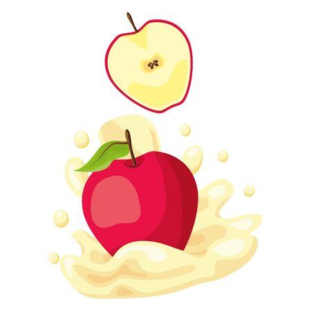 Ilustración de apple juice splash tropical fruits vector illustration - Imagen libre de derechos