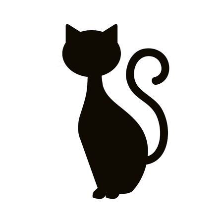 Illustration for silhouette cat animal of halloween vector illustration design - Royalty Free Image