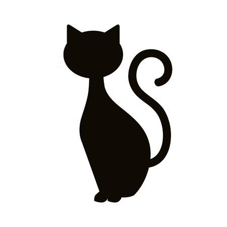 Illustrazione per silhouette cat animal of halloween vector illustration design - Immagini Royalty Free