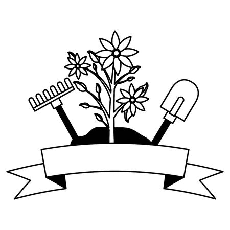 Illustration for flowers rake shovel tools decoration gardening flat design vector illustration - Royalty Free Image