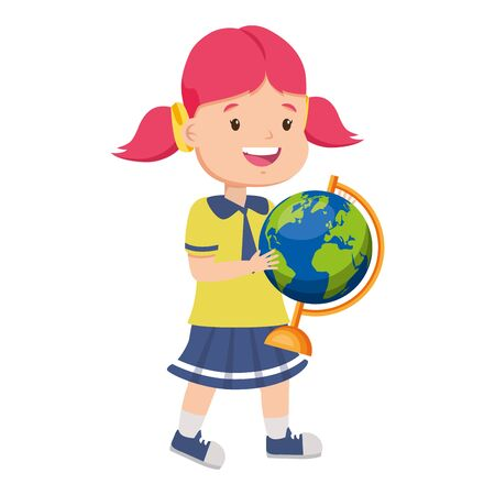 Illustration for girl student with world map back to school vector illustration - Royalty Free Image
