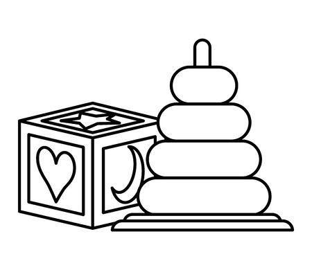 Ilustración de pile rings and block baby toys icons vector illustration design - Imagen libre de derechos
