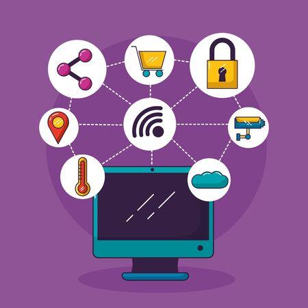 Illustration pour computer wifi free connection shopping security cloud share navigation vector illustration - image libre de droit