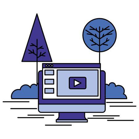Ilustración de online shopping computer website outdoors vector illustration - Imagen libre de derechos
