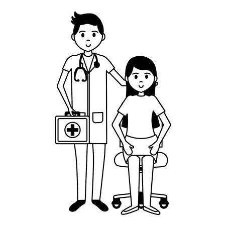Illustration pour doctor with woman on chair patient consultation vector illustration - image libre de droit