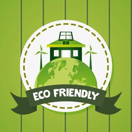 Ilustración de world house solar panel windmills eco friendly vector illustration - Imagen libre de derechos