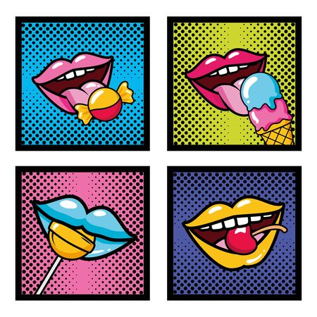 Illustration for set pop art elements mouths candy lollipop ice cream cherry vector illustration - Royalty Free Image