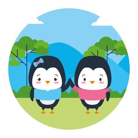 Ilustración de cute couple penguin animal landscape natural vector illustration - Imagen libre de derechos